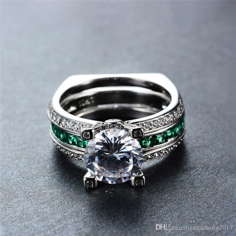 2019 Luxury Female Green Ring Set Bridal Sets High Quality Gold