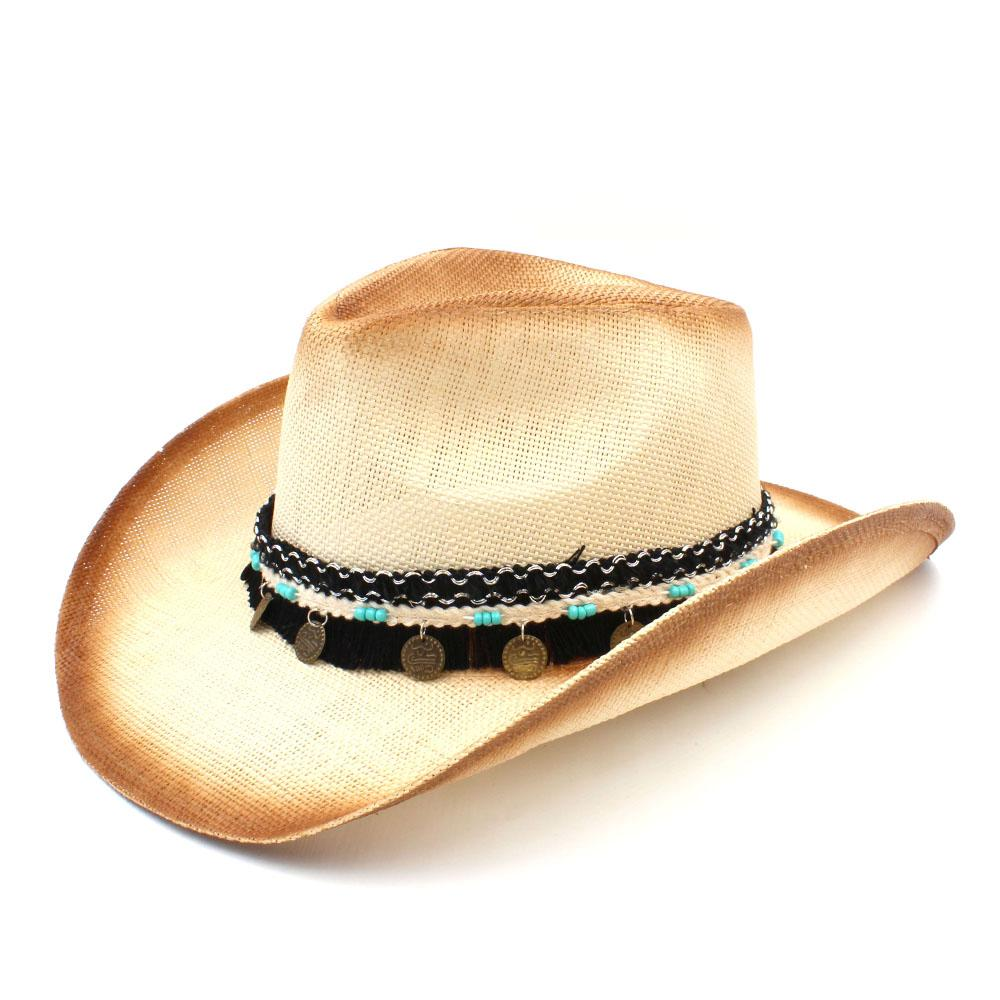 51834a804510f Compre Moda Feminina Homens Chapéu De Cowboy De Palha Ocidental Com Banda  Ocidental Para Senhora Elegante Sombrero Hombre Vaqueira Jazz Caps Tamanho  58 CM ...