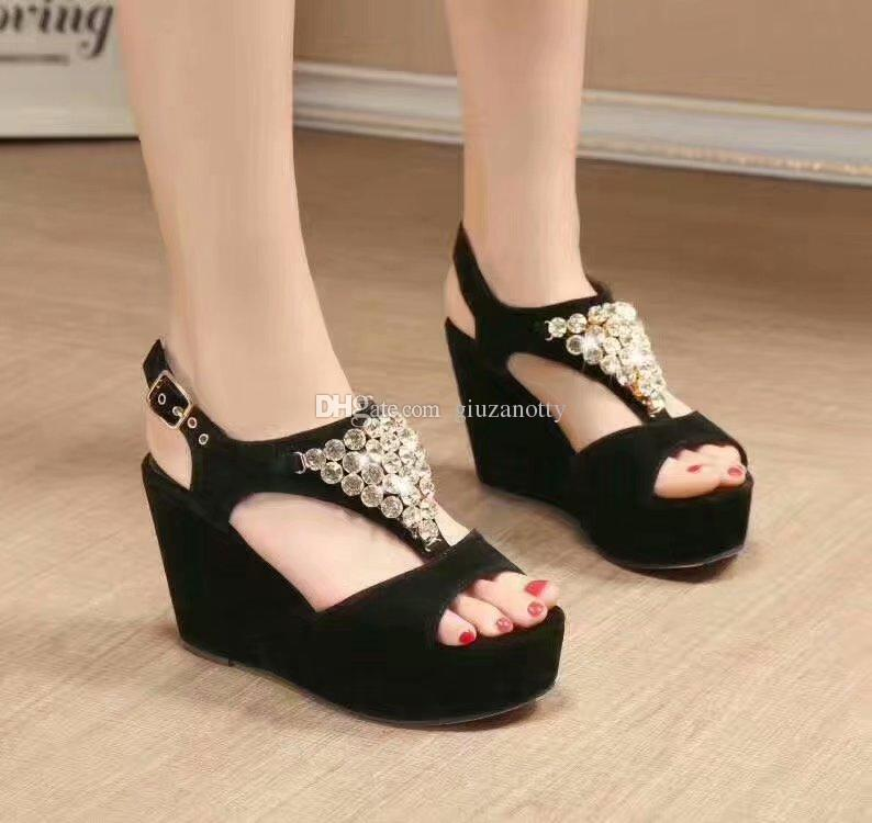 3959c5522f8 New Hot Wedge Sandals Black Summer Gladiators Strap Fashion Women S  Rhinestone Gladiators With Box Cute Shoes Leather Sandals From Giuzanotty