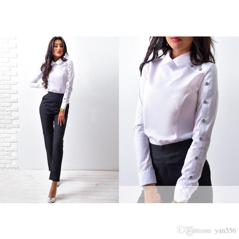 2018 New Spring Fashion Long Striped / white Button Tops y blusas de las mujeres ocasionales Sleeve Turn Down camisa de cuello Vintage OL Tops