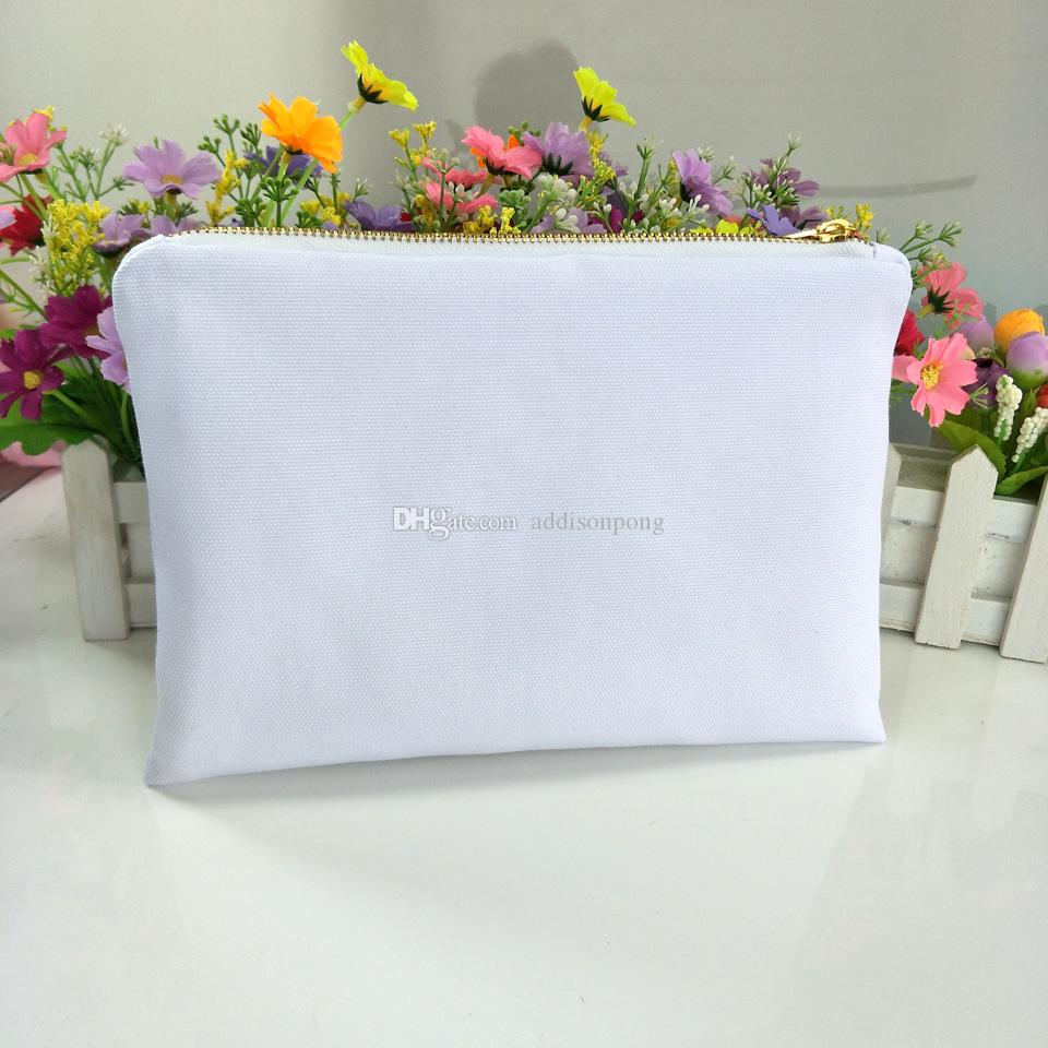 30pcs/lot white poly canvas makeup bag for sublimation print with white lining white-gold zip blank cosmetic bag for heat transfer print