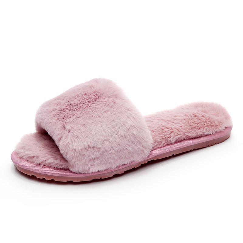 c1ea8fba11c Winter Womens Open Toe Fur Plush Slippers Furry Flip Flops Indoor Outdoor  Fashion Girls Footwear Slide Flat Slipper Gold Shoes Girls Boots From  Zhongfubag