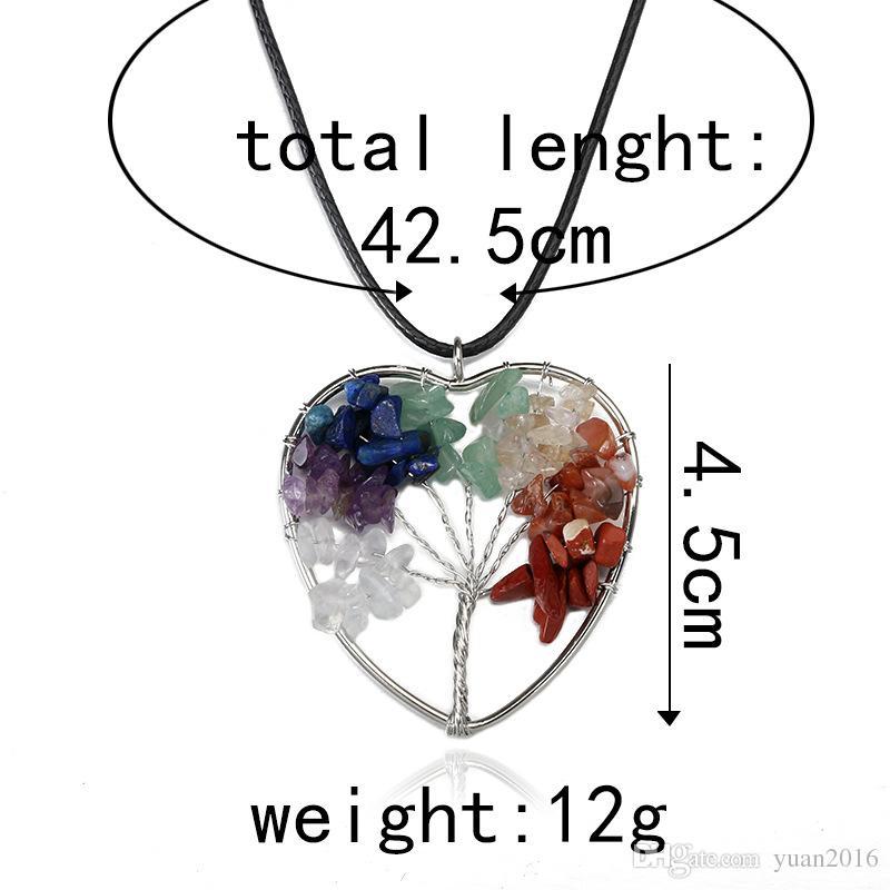 Haute qualité arbre de vie pendentif colliers multicolore chakra pierre naturelle bijoux femme coeur collier mode cristal bijoux cadeau