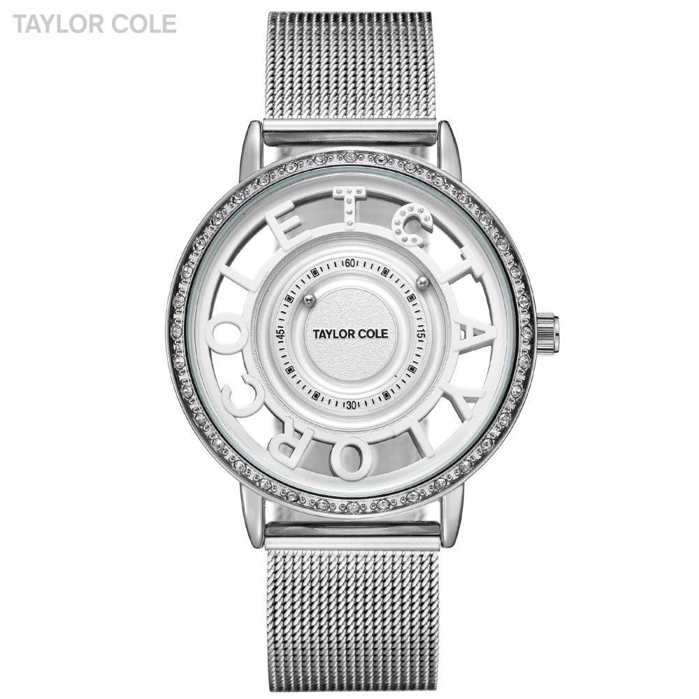 43fd9ccca9b Compre Taylor Cole Relógios De Pulso Das Mulheres Reloj Mujer Rodada De  Prata De Cristal Do Grânulo De Banda De Aço Analógico Relógio Senhoras  Relógio ...