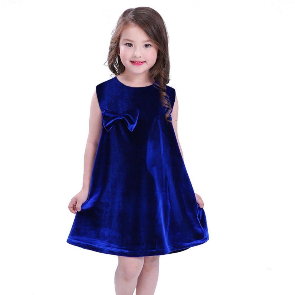 5138188cc590 Ragazze sveglie per bambini Vestiti senza maniche allentati Vestiti per  ragazza Velluto Neonate Vestito da festa Colore rosso blu