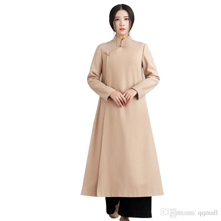 Winter Tee Neue Lange Schnalle Plus Kleidung Herbst Platte Chinesische Wollmantel Service Retro Zen Stehkragen SUMpqzV