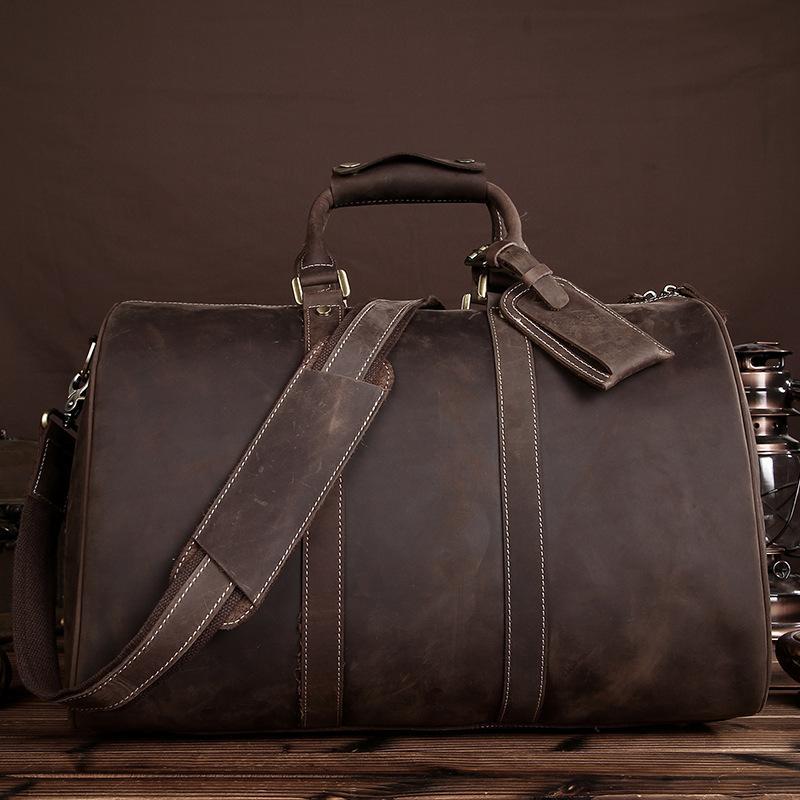 c945d016eb57 Crazy Horse Leather Large Capacity Travel Bags Vintage Handbags ...