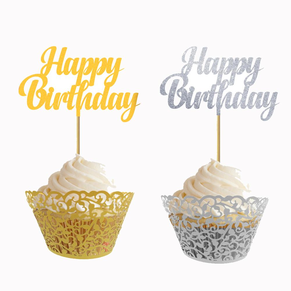 2019 Glitter Gold Silver Happy Birthday Cupcake Toppers For Party Decoration Food Treat Fruit Picks From Zhoukougarden 18656