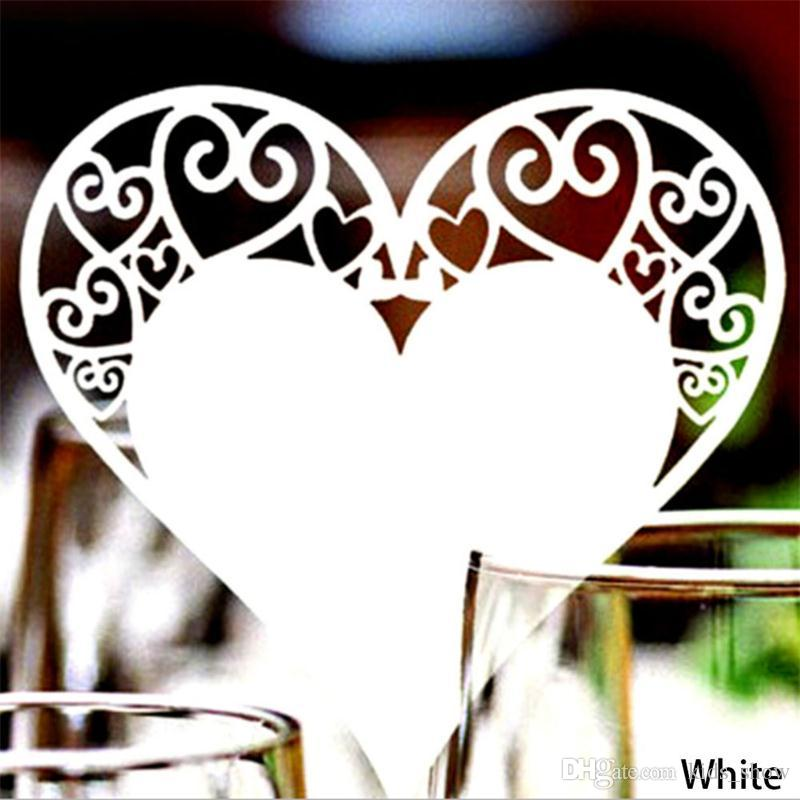 Wedding Table Decoration Place Cards Laser Cut Heart Floral Wine Glass Place Cards For Wedding Party Decoration