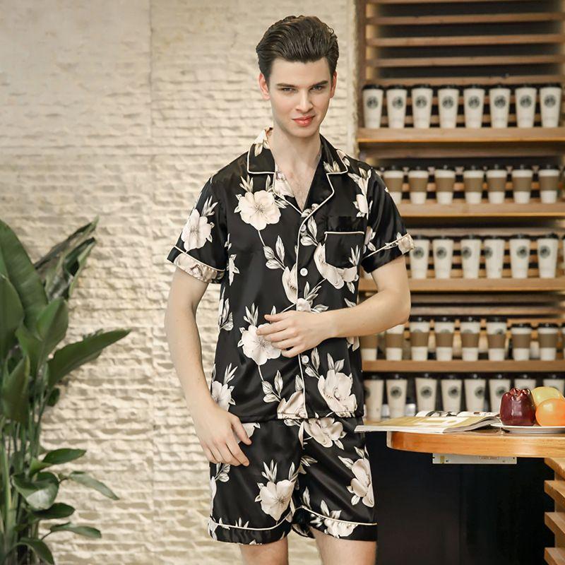 c11c7991b3 2019 PS0241 New Men Pajamas Flower Print Satin Silk Pajama Set Men Summer  Sleepwear Short Sleeve And Shorts Nightwear Pyjama Set From Bunnier