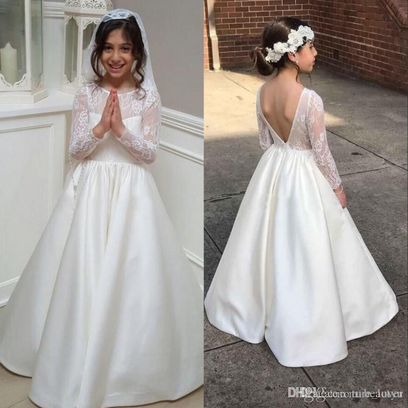 759a45709db9 Long Sleeve A Line Lace Flower Girl Dress For Weddings 2018 Sexy Backless Junior  Bridesmaid Dress Satin Kids First Communication Gowns Butterfly Flower Girl  ...
