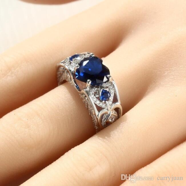 New Arrival choucong Fashion Jewelry Vintage 925 Sterling Silver Heart Shape Blue Sapphire Pave Party CZ Diamond Women Wedding Wing Ring Set