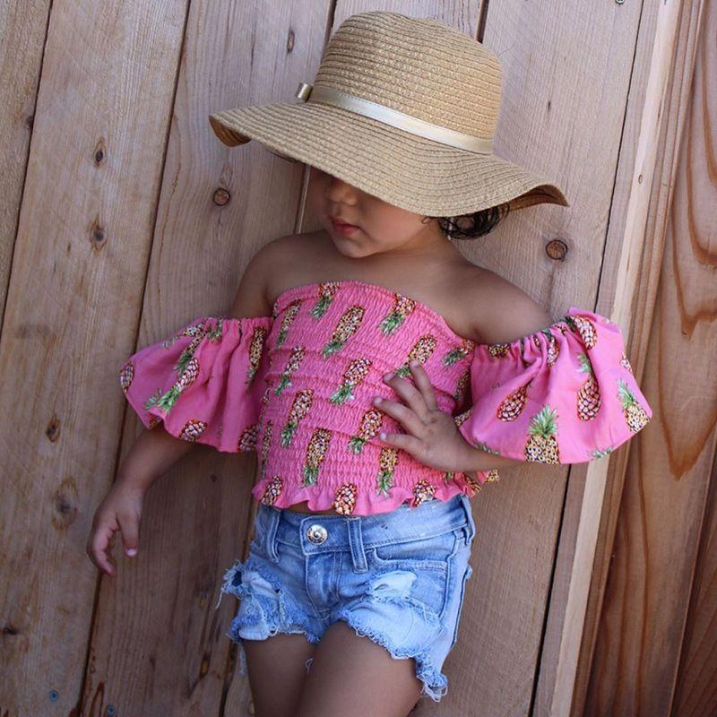 2018 New Baby Girls Fashion Set Piñas Impresas Tops Camisa + Pantalones cortos de mezclilla 2 Unids Trajes Ropa para niños Cute Summer Baby Girls Ropa Set