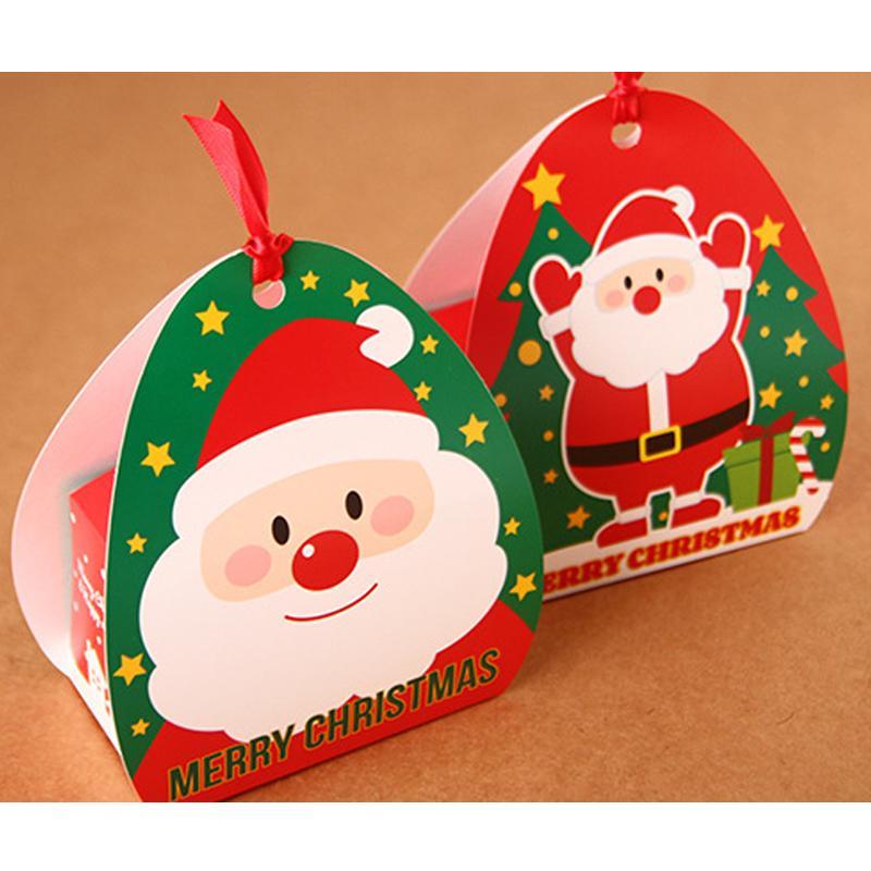 Babbo Natale 50.50 Pezzi Lottp Buon Natale Babbo Natale Biscotto Scatola Regalo Per Bambini Red Cookie Cake Box Xmas Capodanno Decorazione Del Partito B072