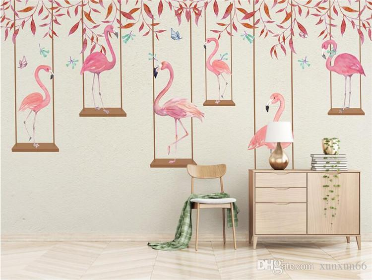 photo wallpaper high quality 3d effect cartoon kids room wall mural pink flamingo bedroom living room background wallpaper