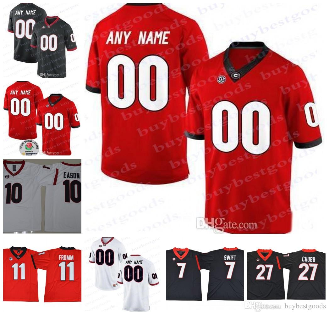 3475ae3e3 2019 Custom UGA Georgia Bulldogs College Football 11 Jake Fromm 27 Nick  Chubb 10 Jacob Eason Jerseys Personalized Any Name Number Rose Bowl Jerse  From ...