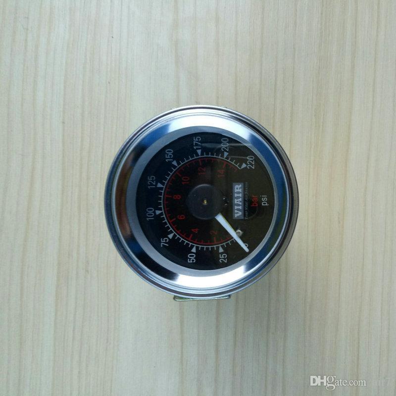 2018 Oferta especial apresurada Viair Puntero doble Medidor de aire Agujas dobles 0-220 psi Barómetro de cara negra Suspensión neumática Bolsa de presión