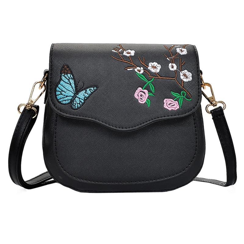 2018 Fashion Women Hit Color Buerfly Flower Embroidery Leather Crossbody Bags  Messenger Shoulder Bag For Women Leather Handbag Satchel Handbags White ... ad4c47106d187