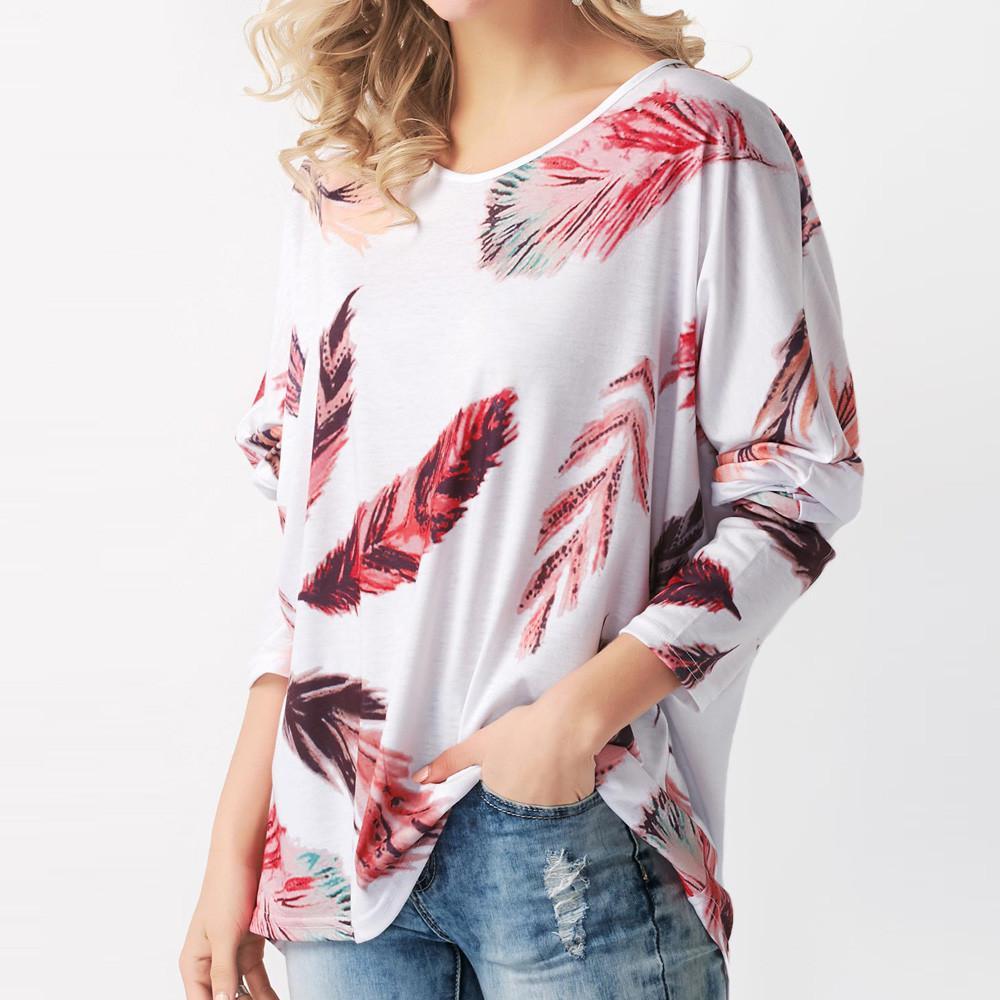 Compre 2019 S Shirt De Mujer Primavera Verano Damas Impresión Casual Pluma  De Pavo Real Moda Tops Camiseta De Manga Larga O Cuello Pullover Camisetas  A ... 67566a464881