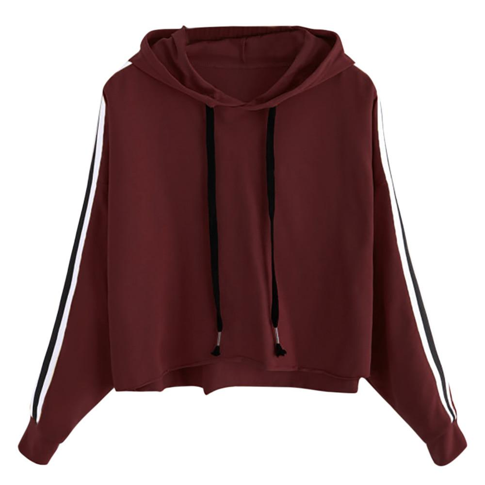 2e05f655c391 2019 New Women Solid Color Striped Sweatshirt Long Sleeve Hooded Pullover  Patchwork Sweatshirt Tops Shirt Blouse Drop Shipping 1a08 From Whitecloth,  ...