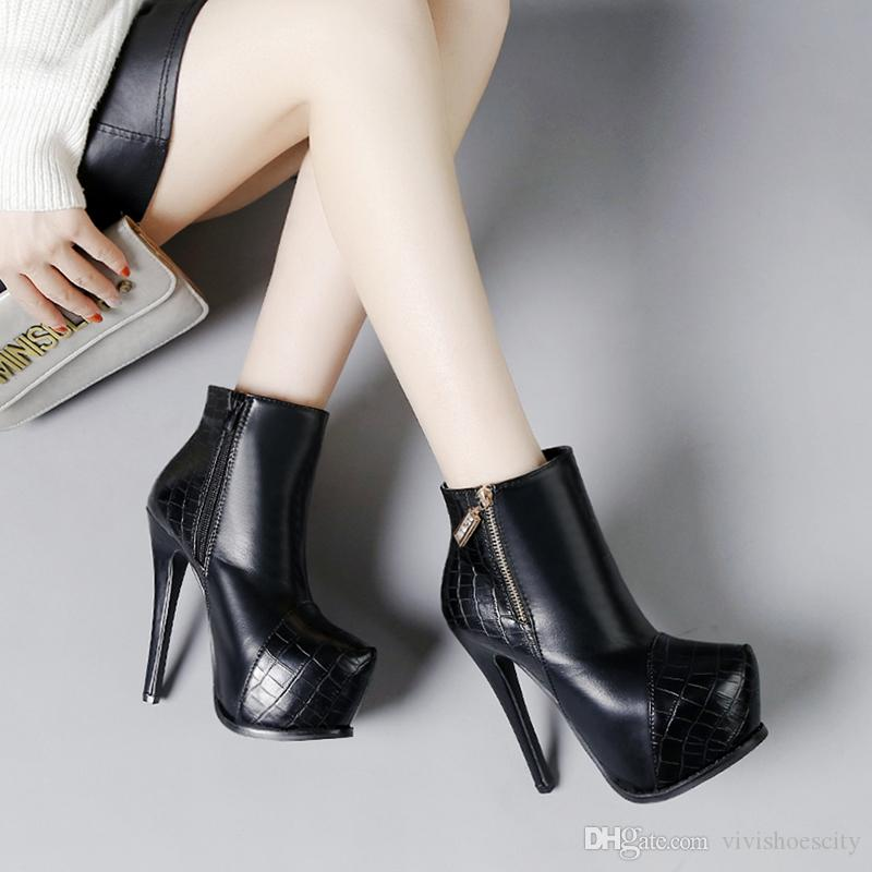 14cm New stone grain patchwork platform high heels ankle boots women winter black PU leather knight boots size 35 to 40
