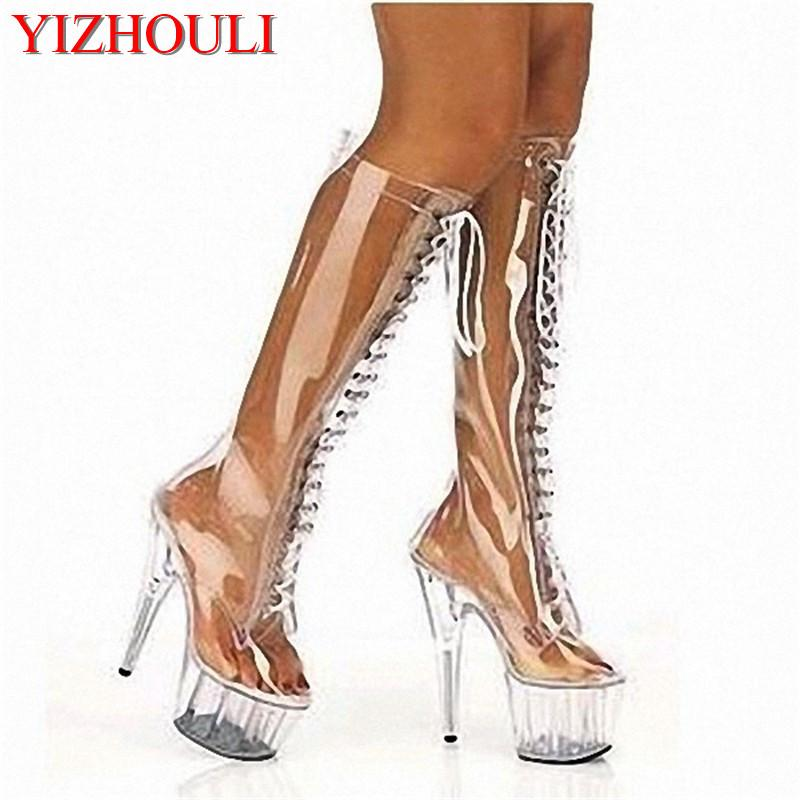 e38bf2ea8 Compre 15 Cm Cinta Frontal Sapatos De Salto Alto Sexy Transparente  Divertido Sapatos Femininos Muito Quente Botas De Vendas De 6 Polegadas  Botas De Alta ...