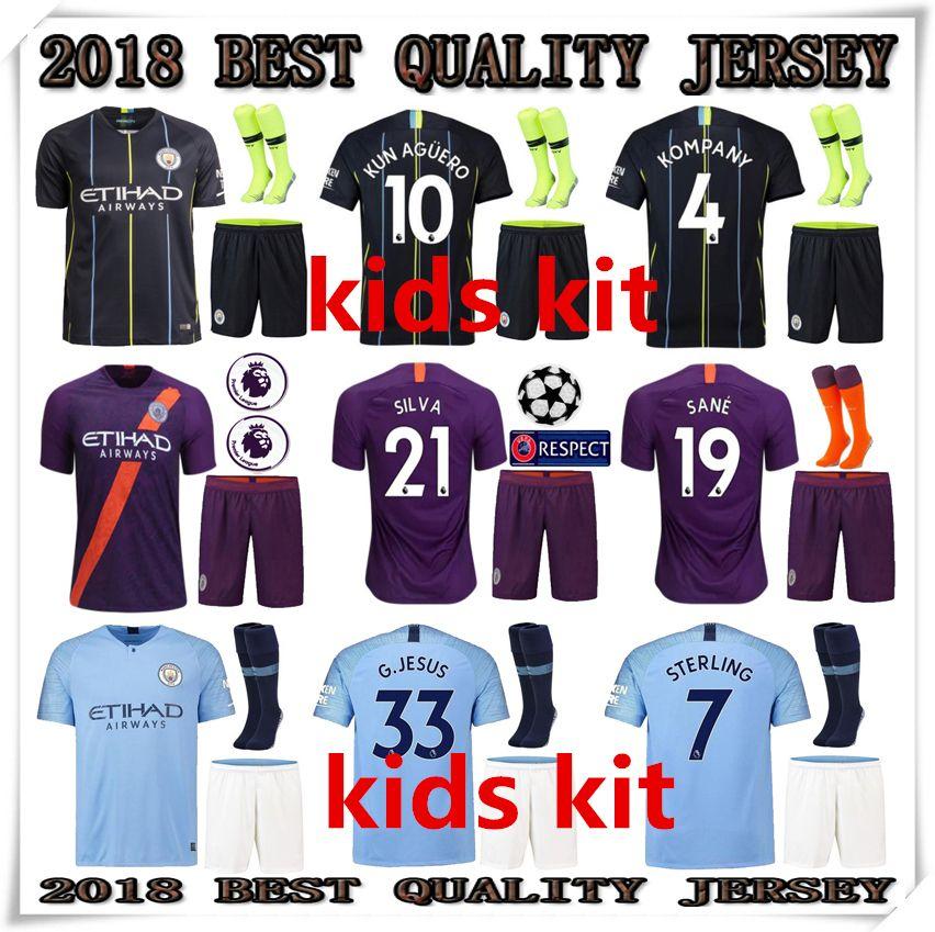 KIDS 2018 2019 Manchester City KIDS KIT Jerseys HOME AWAY THIRD ... 9a28b0166da0b
