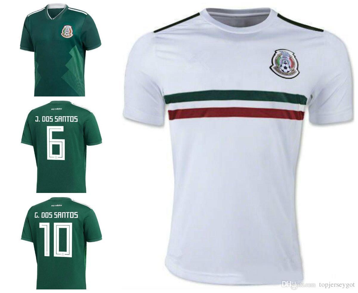 01dd26fd4881 2019 2018 World Cup Mexico Soccer Jersey Home Away 17 18 Green CHICHARITO  Camisetas De Futbol Hernandez G DOS SANTOS Football Shirts From  Topjerseygot