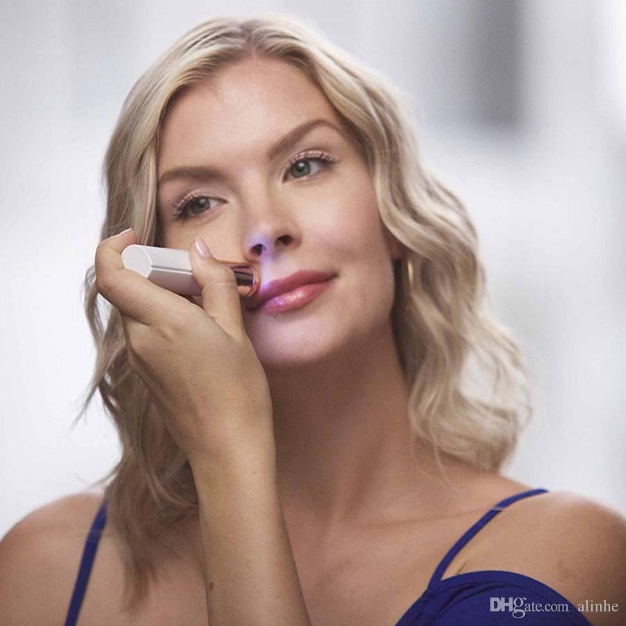 Mulheres Depilador Removedor de Pêlos de Cera Aparador de Remoção de Pêlos Facial Do Cabelo Elétrico Indolor Batom Ferramenta de Barbear 4 Cores com caixa de varejo Frete Grátis