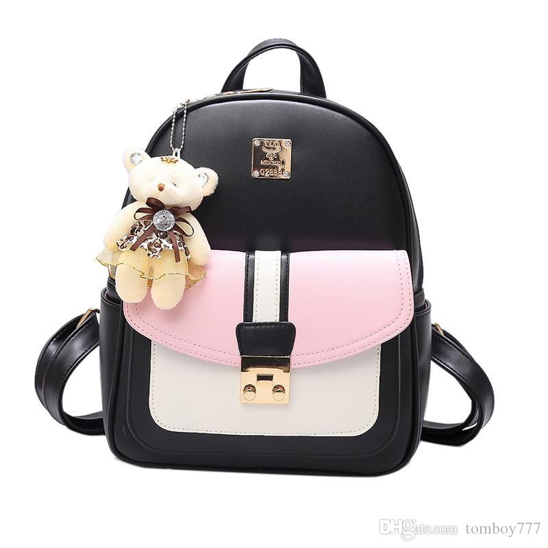 2e6eb0d329f 2018 Fashion Korean Women Mini Backpack Small PU Leather Backpacks School  Bags Teenagers Girls Female Travel Backpack Mochilas Rolling Backpack  Toddler ...