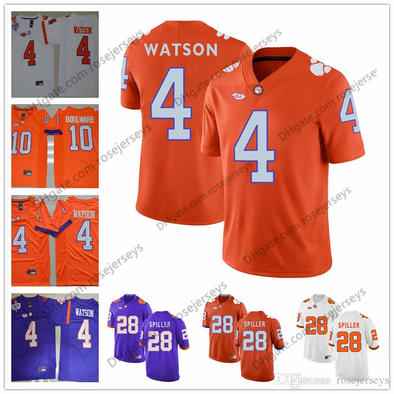 9195cb2dc28 2019 NCAA Clemson Tigers #28 CJ Spiller 36 Byron Maxwell 4 DeShaun Watson  Steve Fuller 27 C.J. Purple White Orange College Football Jerseys From  Rosejerseys ...