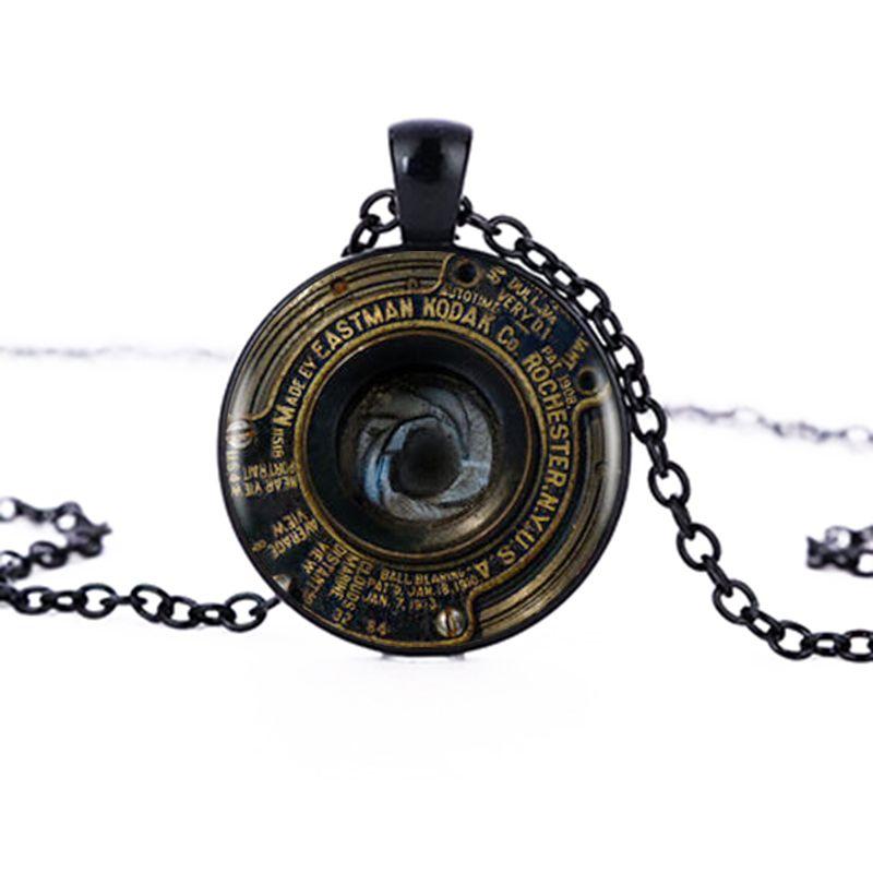 도매 카메라 렌즈 펜던트 목걸이 카메라 렌즈 블랙 레트로 목걸이 여성 보석 비쥬 사진 작가 독특한 선물 HZ1