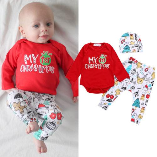 f0e0ed109151 2019 Adorable Newborn Baby Boys Girls 1st Christmas Tops Romper Pants Hat Outfits  Set From Cassial