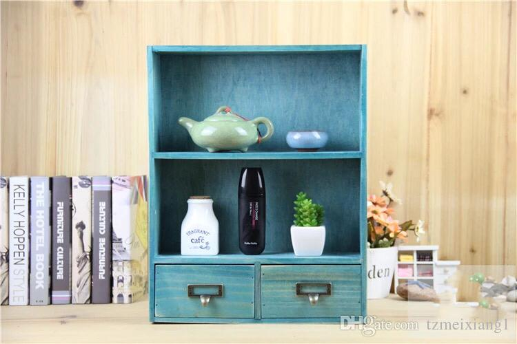 European Retro Cabinet with Two Drawers Cosmetic Jewelry Storage Box