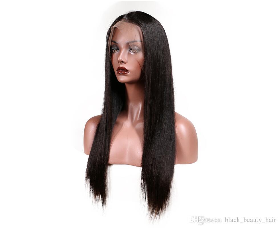 Kadoyee Cabelo Liso Glueless Remy Perucas de Cabelo Virgem Humano Com o Cabelo Do Bebê Sem Derramamento Nenhum Emaranhado Natural Cor Preta Dyeable para Mulher Negra