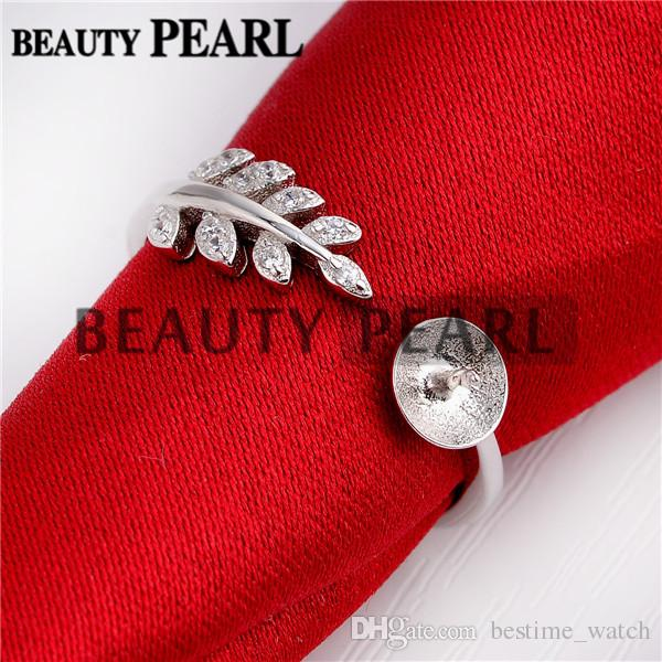 HOPEARL Jewelry 925 Sterling Silver Cubic Zirconia Plant Leaves Ring DIY Pearl Mounts Findings