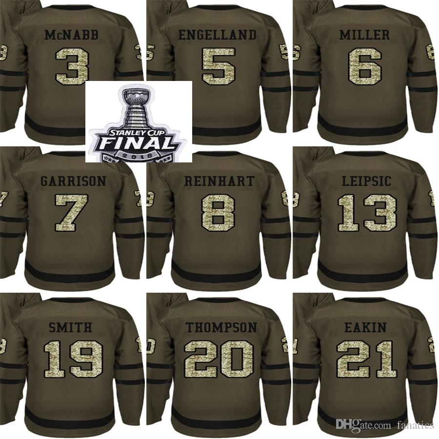low priced a4376 3aed7 2018 Stanley Cup Final Patch Men Golden Knights Green Salute to Service  McNabb Engelland Leipsic Smith Tompson Eakin Miller Hockey Jersey
