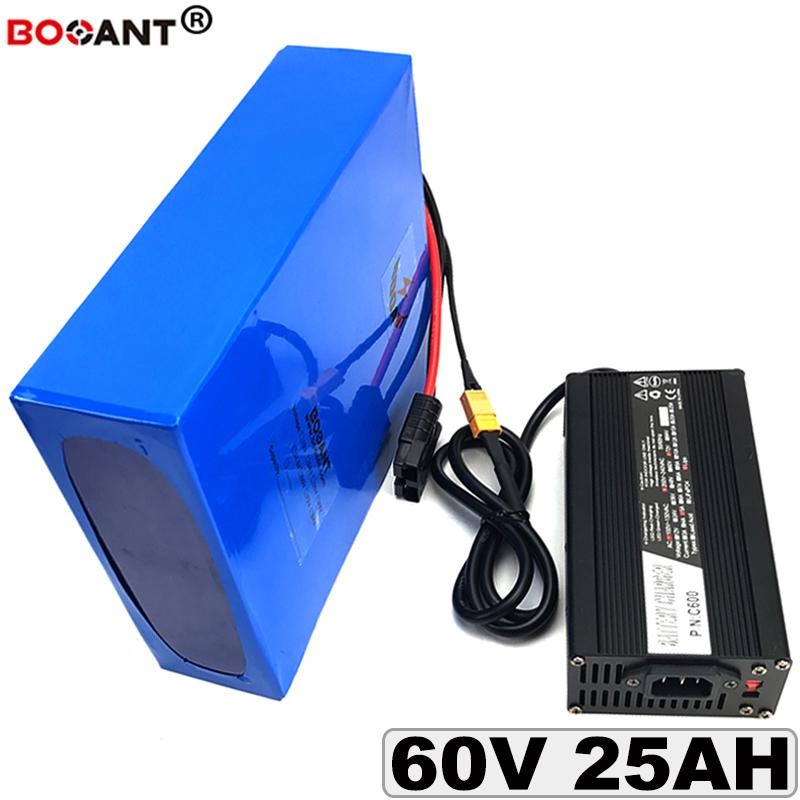 Free Shipping 60V 25AH E-Bike Lithium Battery pack 16S 60V Electric bicycle Battery pack for Bafang 2000W Motor with 5A Charger