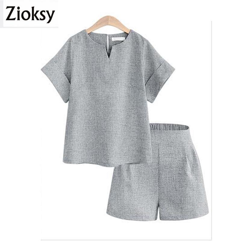 19875c2f1 2019 Zioksy 2017 New Loose Summer Women Sets Solid Color Short Sleeved Tops  Sets Women Tracksuit Linen T Shirts Shorts Y1891902 From Tao02