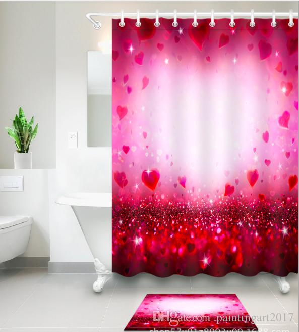 Red Romance Pattern 3D Print Custom Waterproof Bathroom Modern Shower Curtain Polyester Fabric Door Mat Sets UK 2019 From Paintingart2017