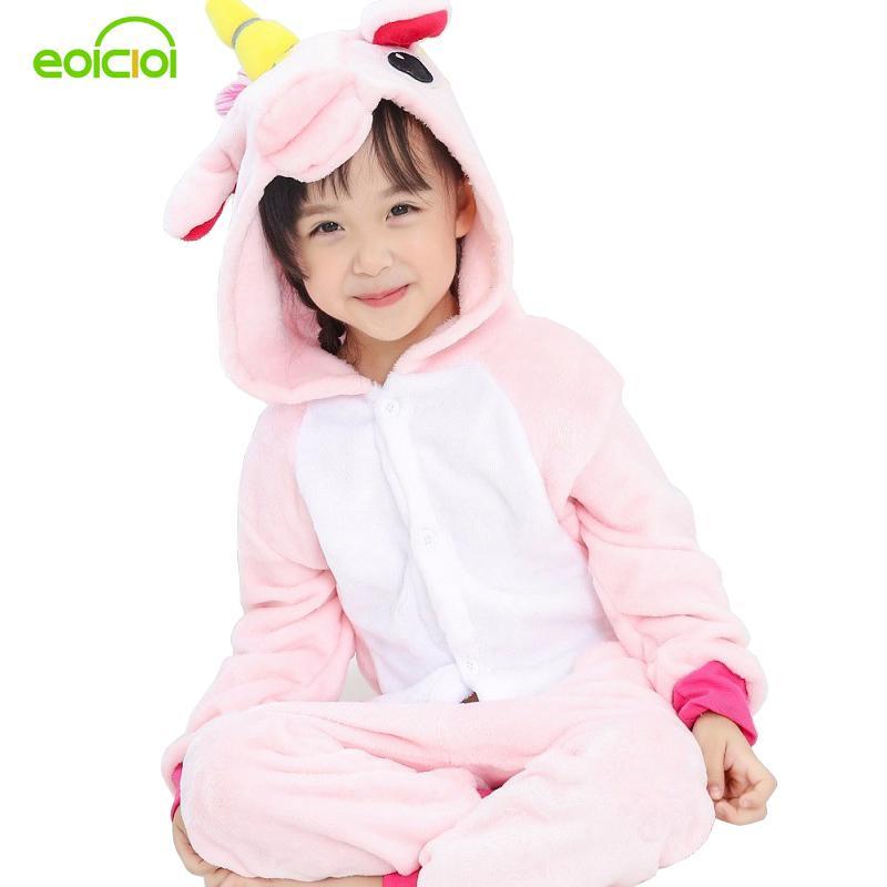 5f8e8f34c8 Compre EOICIOI Animal Unicornio Puntada Pikachu Pijamas De Franela Con Capucha  Niños Ropa De Dormir De Dibujos Animados Cosplay Pijamas De Niños Onesies  ...