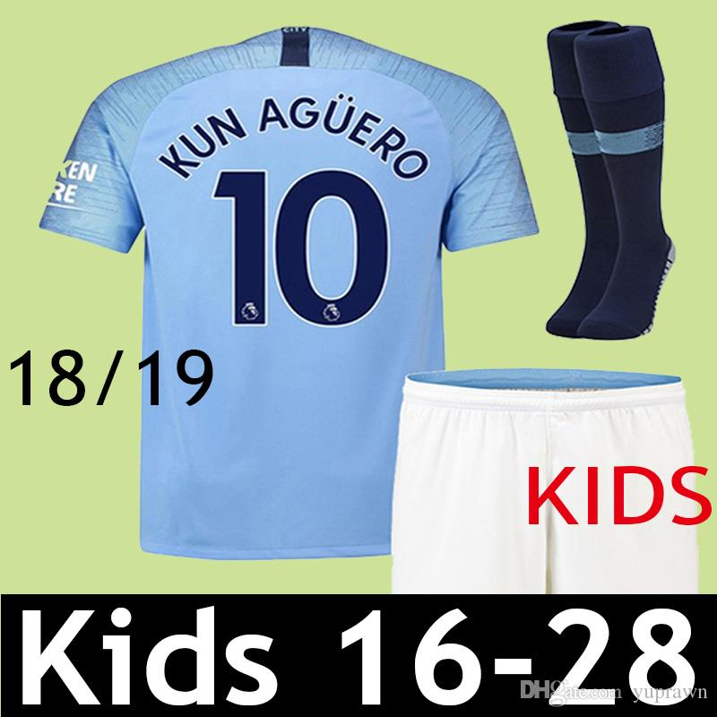 KIDS JERSEY 18 19 KUN AGUERO STERLING CITY Soccer Jersey 2018 2019 Children Home MAN G.JESUS DE BRUYNE SANE SILVA BERNARDO Football Shirt
