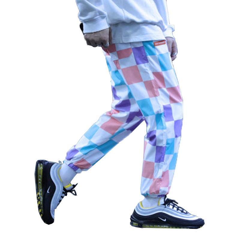 30a62827bfaf20 Harajuku Checkered Pants Men Plaid Baggy Mens Colourful Pants Street Style  Trainingsbroek Heren Korean Fashion Clothing For Men