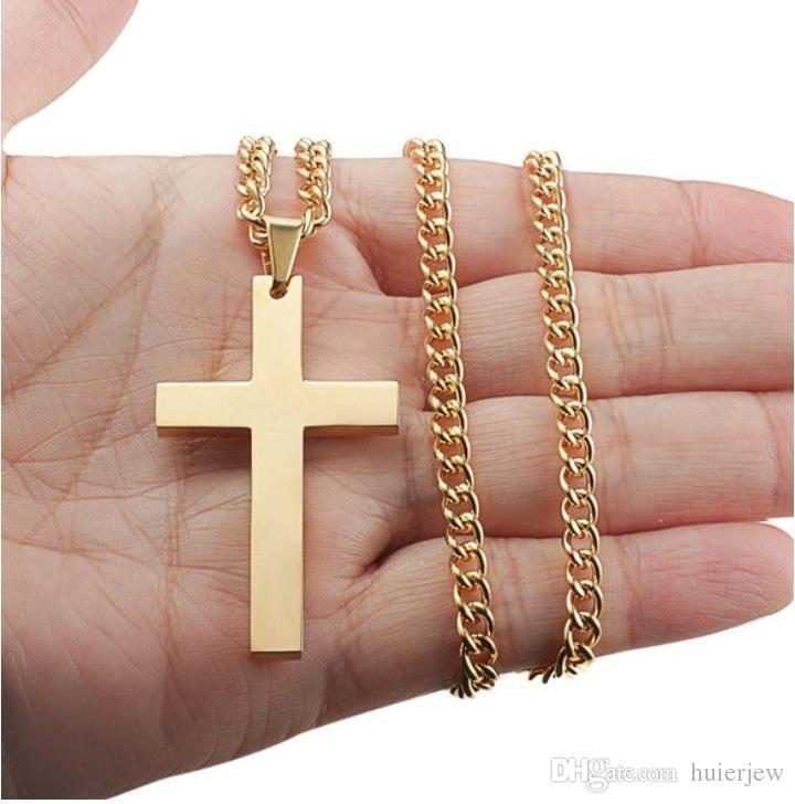 Graziosi gioielli a catena in oro da uomo Collana con ciondolo a croce Collana a maglie Collana con ciondolo Dichiarazione Gioielli con ciondoli Collane con croce placcata oro nero argento