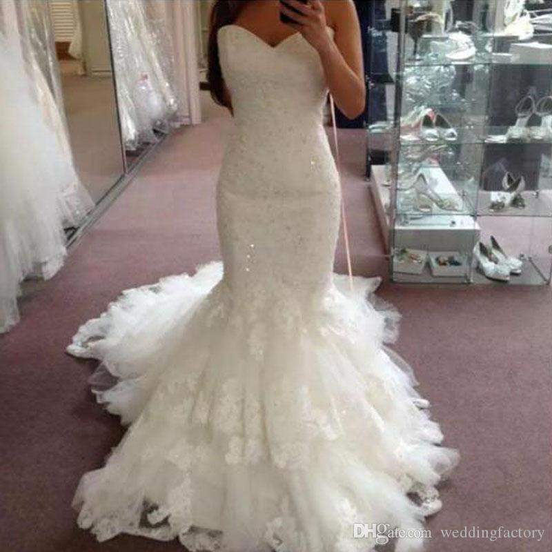d0abc0b7e585 2018 Wedding Dresses Bridal Gowns Fit And Flare Sweetheart Sleeveless  Beaded Lace Appliques Tulle Skirt Corset Bridal Gowns Court Train Wedding  Dresses Sexy ...
