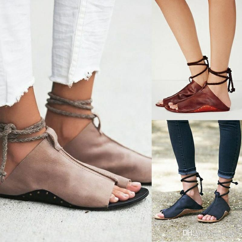 50cbb246f346f0 Womens Shoes Ankle Strap Flat Heel Rome Sandals 2018 Hot Sale Hollowed  Sandals   Flip Flops Breathable Summer Plus Size Female Shoes 35 43 Tan  Wedges Fringe ...