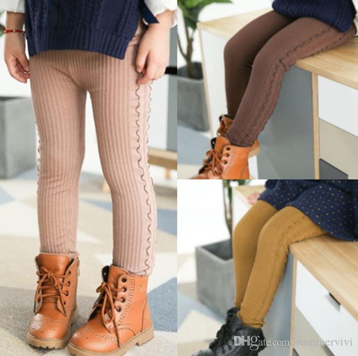 136ee4803e4 2019 Kids Leggings Girls Ruffle Princess Tights Trousers Children Vertical  Stripe Leggings Autumn Winter Girls Velvet Thicken Warm Bottoms F1833 From  ...