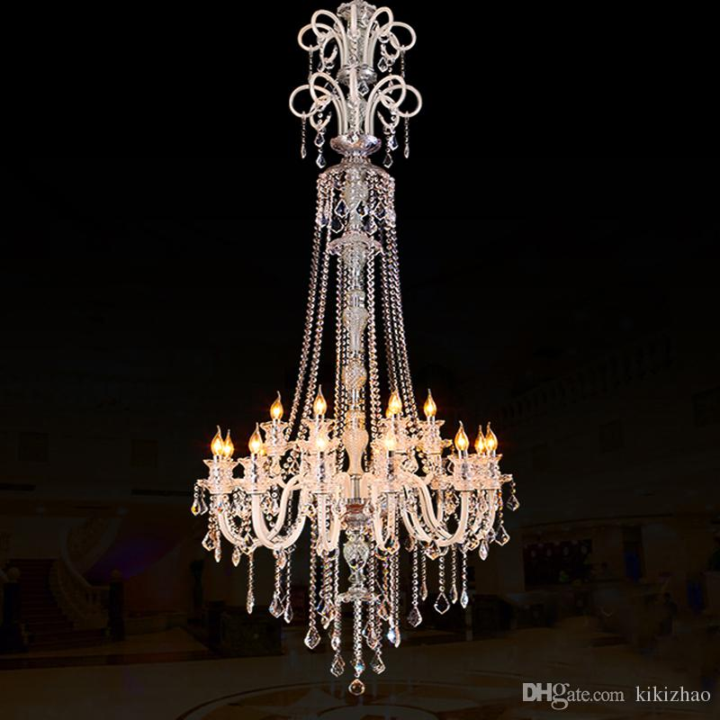 Hearty Long Stairwell Crystal Chandelier Led Luminaria For Living Room Chandelier Lighting Stairway Gold Led Chandelier Hotel Fixtures Ceiling Lights & Fans