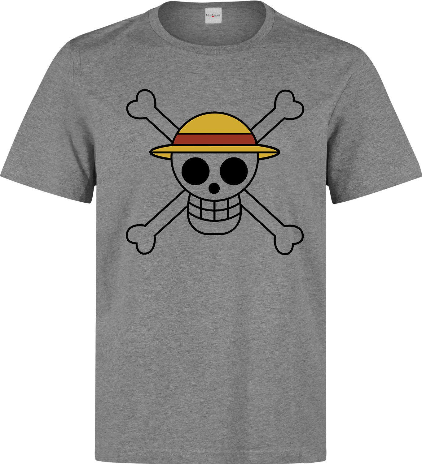 74b2408d One Piece Straw Hat Luffy Flag Anime Manga Japan Men's Grey T Shirt Hot  Selling 100 % Cotton Tee Shirts Top Tee
