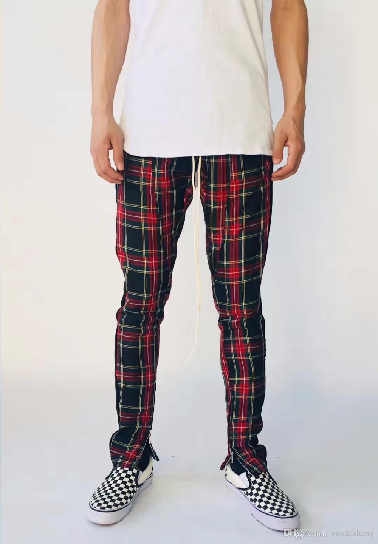 Nova 2018 Outono Nova Moletom Homens Mulheres FOG Calça Casual Com Cordão Cintura Skinny Calças Dos Homens Xadrez Calças Moda calças S-XL